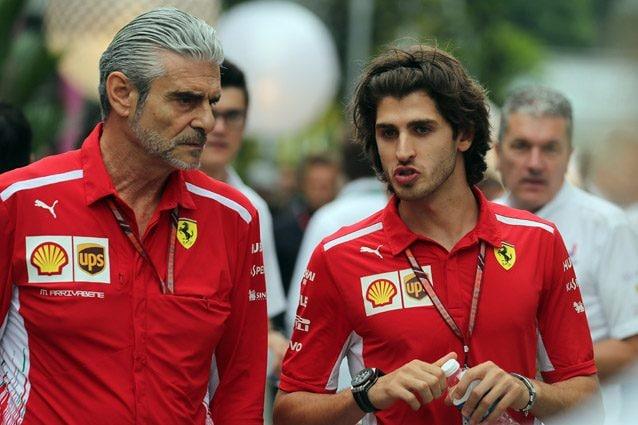 Antonio Giovinazzi insieme al team principal della Ferrari Maurizio Arrivabene – LaPresse