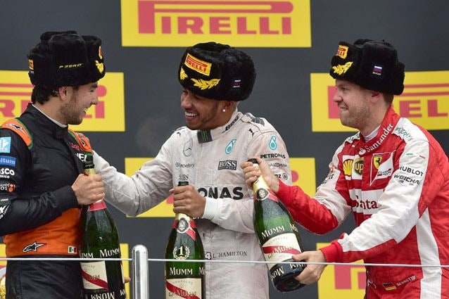 Il podio del GP di Russia 2015 – Getty images