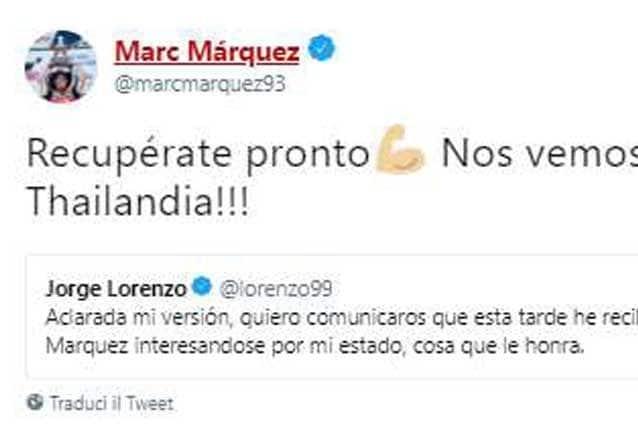 """Marquez-Lorenzo, pace fatta tra i due: """"Ci vediamo in Thailandia"""" ma Jorge in forse"""