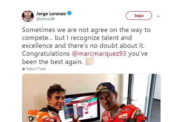 Il tweet di Jorge Lorenzo / Twitter