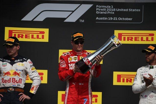 Kimi Raikkonen festeggia la vittoria nel Gran Premio degli Stati Uniti – LaPresse
