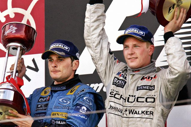 Kimi Raikkonen festeggia dopo la rimonta nel GP del Giappone 2005 – Getty images