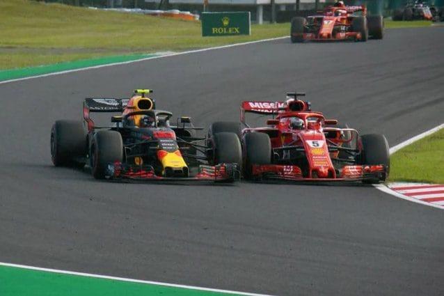 Il contatto tra Verstappen e Vettel a Suzuka – Foto Twitter