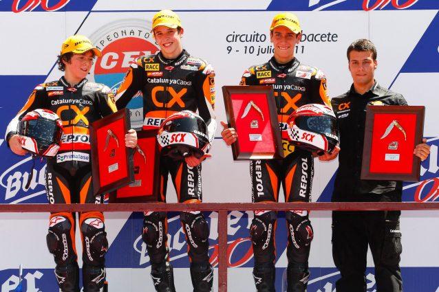 Bagnaia nel 2011 ai Albacete insieme ai compagni di squadra Alex Marquez e Alex Rins / Cev