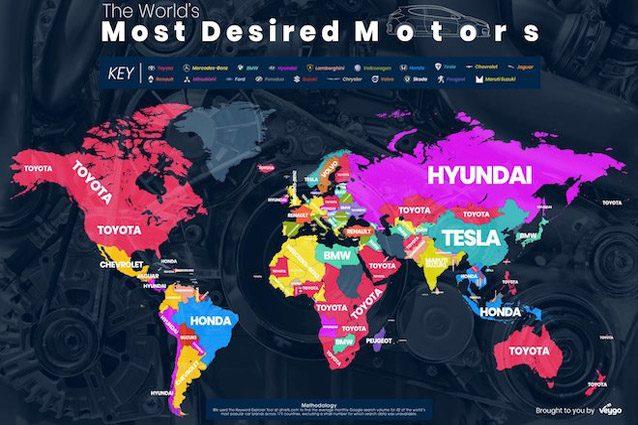La mappa dei marchi auto più cercati nel mondo
