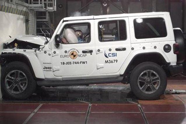 Jeep Wrangler durante i crash test EuroNCAP