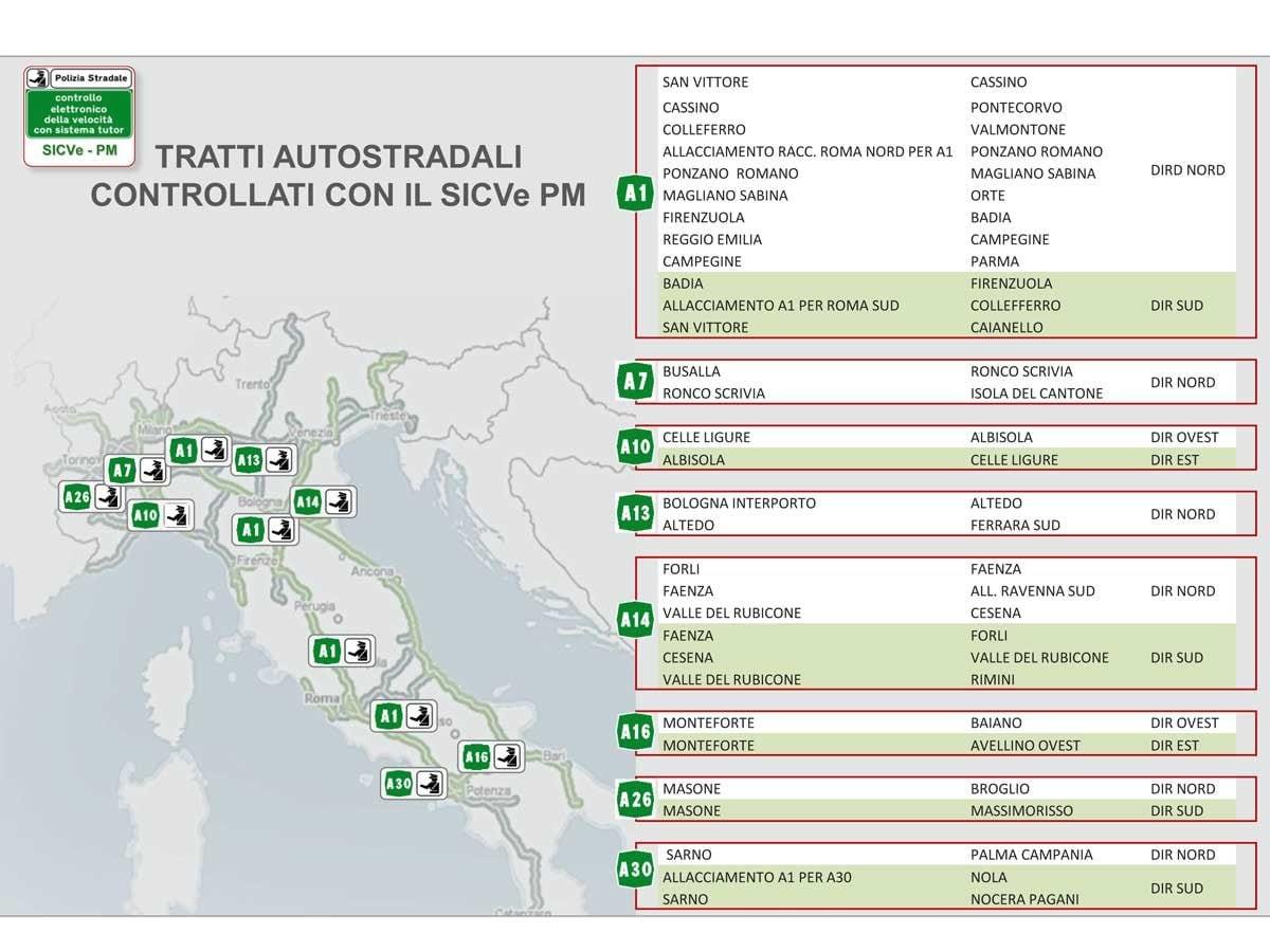 La mappa dei tratti autostradali controllati con il SICVe PM / Polstrada