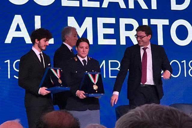 Pecco Bagnaia e Kiara Fontanesi premiati con il Collare d'Oro 2018