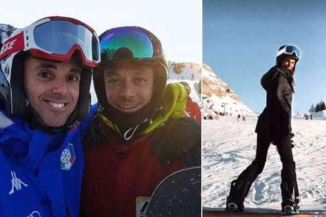 Valentino Rossi nel selfie con un suo fan. A dx la fidanzata Francesca Sofia Novello / Instagram