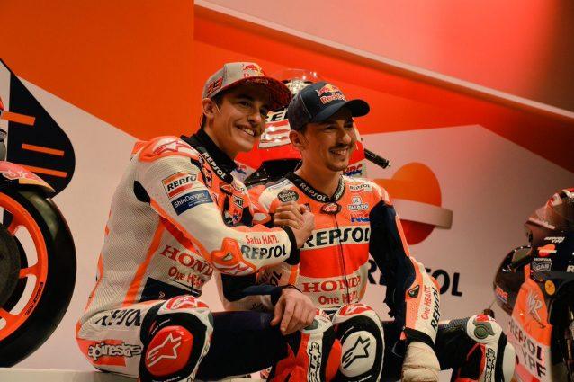 Marc Marquez e Jorge Lorenzo durante la presentazione Honda a Madrid