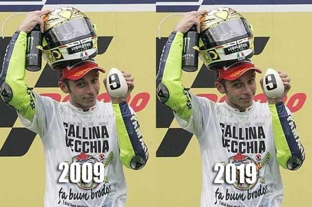 Ironia web sul #tenyearschallenge di Valentino Rossi
