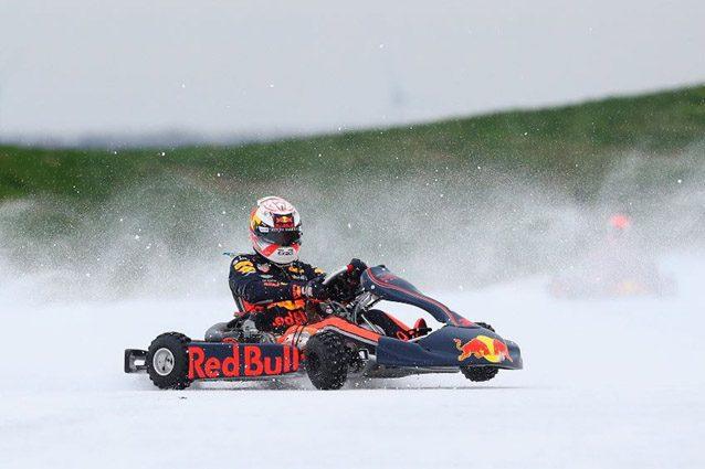 Max Verstappen con il kart sulla neve – Foto Twitter Red Bull