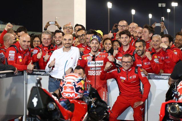 Andrea Dovizioso esulta dopo la vittoria in Qatar– Getty images