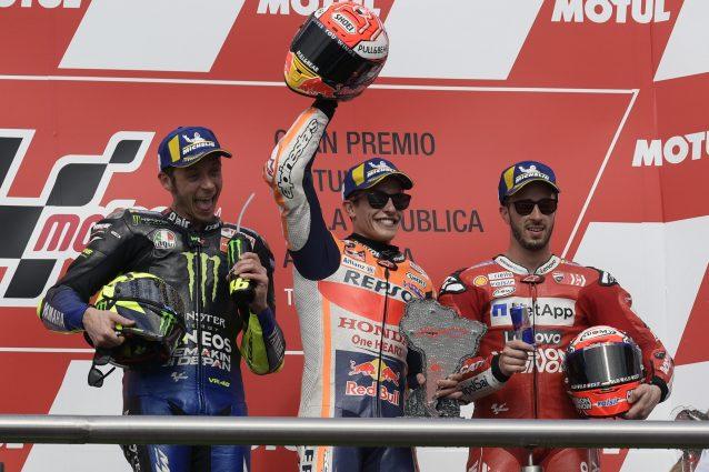 Marquez, Rossi e Dovizioso sul podio del Gp d'Argentina / Getty