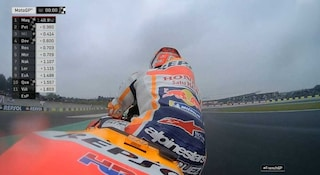 MotoGP Le Mans, Marquez in pole sul bagnato. Rossi azzarda, 5°