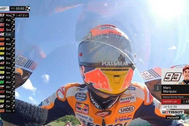 Marc Marquez al termine delle FP1 al Mugello / MotoGP.com
