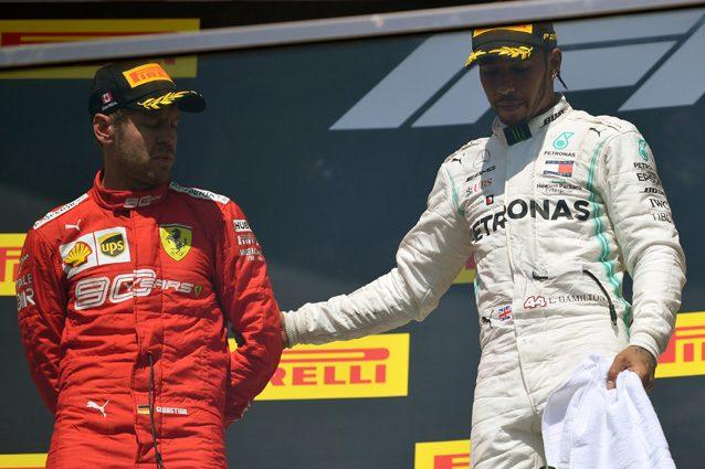 Lewis Hamilton e Sebastian Vettel sul podio del Canada – Getty images