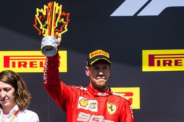L'amarezza di Sebastian Vettel sul podio del GP del Canada – Ferrari