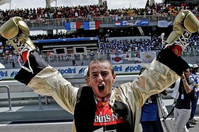 Lorenzo, a Sepang nel 2007, festeggia il secondo titolo in 250 / Getty