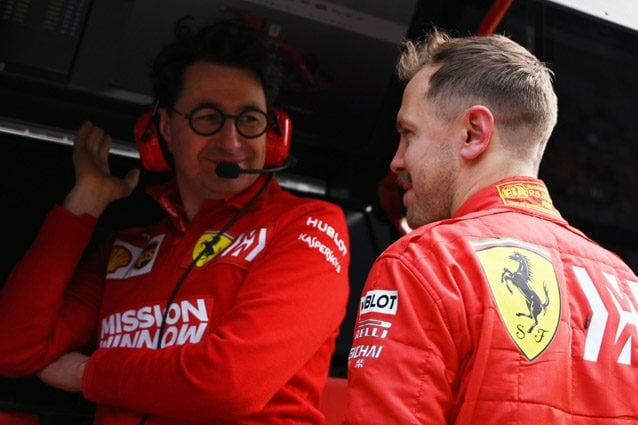 Mattia Binotto e Sebastian Vettel – Getty images