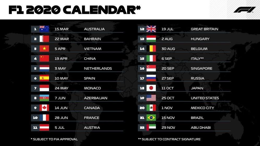 Calendario 2020 Con Numero Settimane.F1 Ecco Il Calendario Del 2020 22 Gare E Record