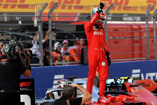 Charles Leclerc festeggia la pole position di Sochi – Getty images