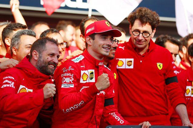 Charles Leclerc festeggia la sua prima vittoria in Formula 1 – Getty images