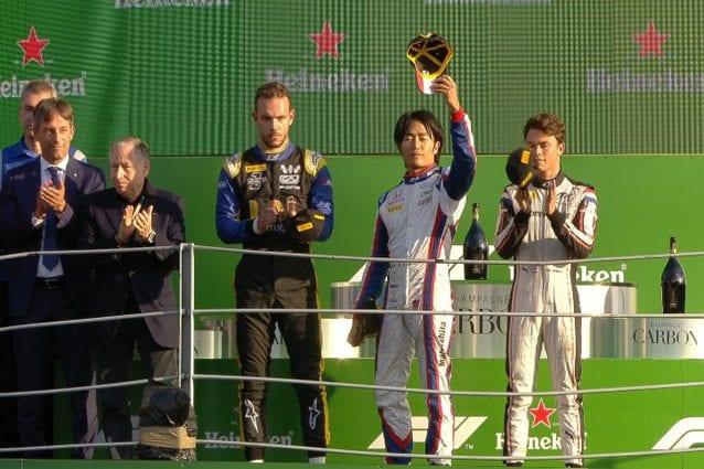 Matsushita sul podio del GP d'Italia in Formula 2 – Foto Twitter