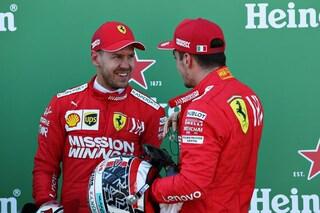 """Vettel e Leclerc ci credono: """"Prima fila sorprendente, ora vogliamo la doppietta in gara"""""""
