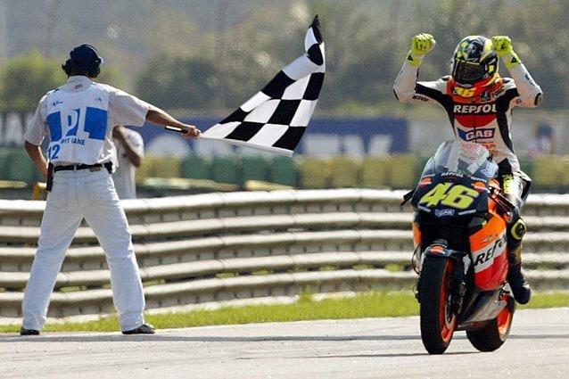 La vittoria di Rossi in Brasile nel 2003 – Getty images