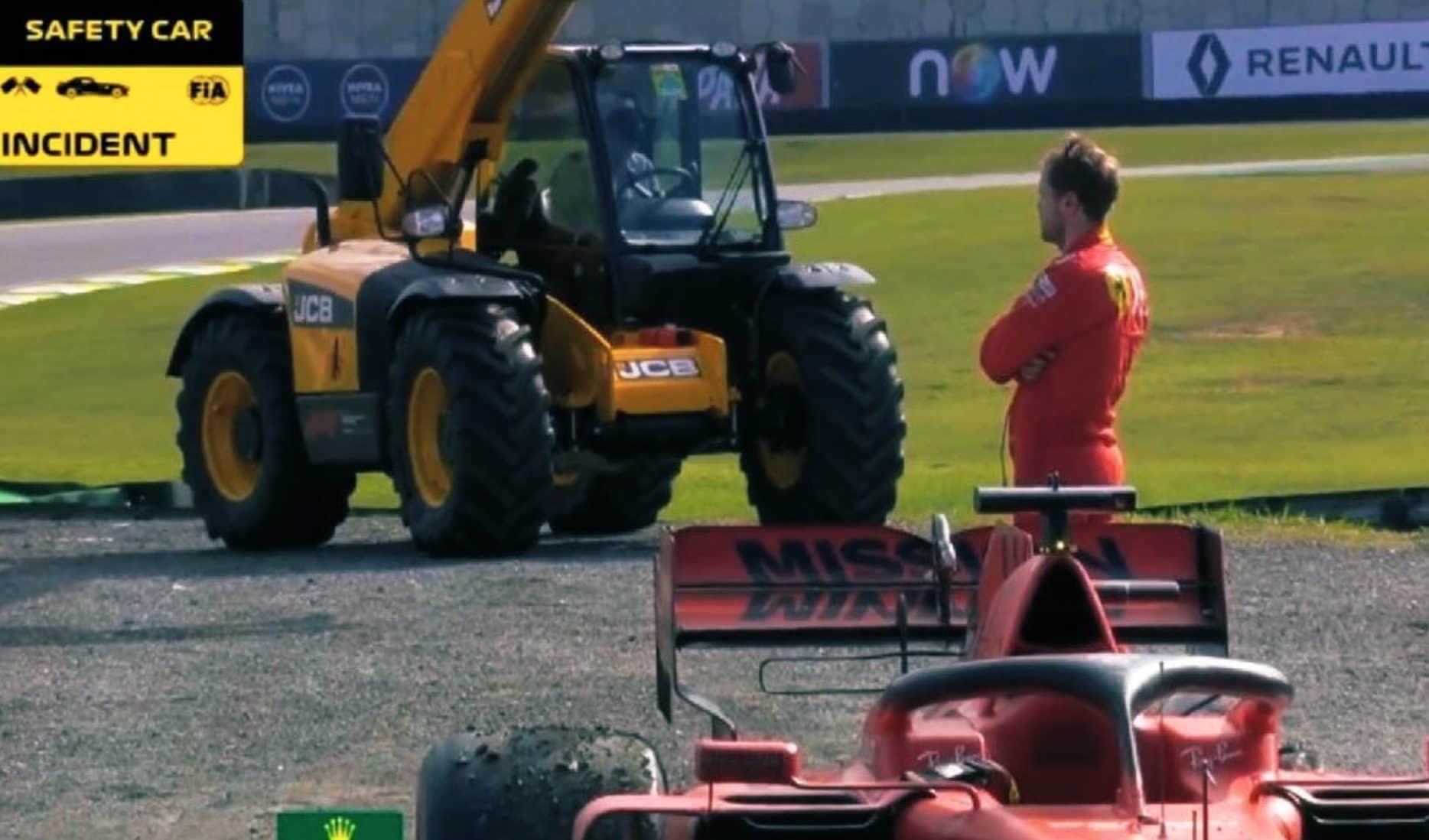 Sebastian Vettel dopo il contatto con Leclerc in Brasile.