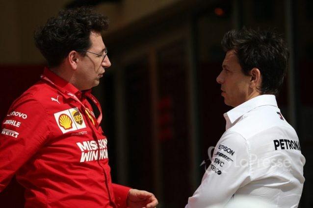 I team principal di Ferrari e Mercedes, MattiaBinotto e Toto Wolff / LaPresse