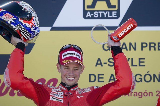 Casey Stoner sul podio di Aragon 2010 / Getty