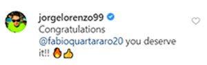 Il messaggio di Lorenzo a Quartararo / Instagram