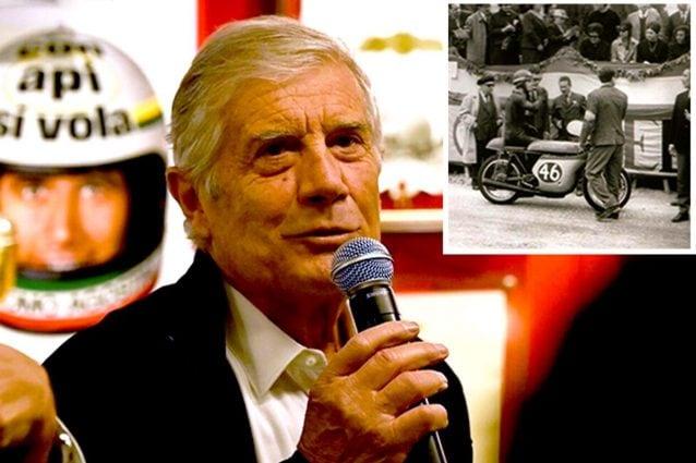 Giacomo Agostini, 77 anni. Nel riquadro la gara del 1965 ad Alicante (Spagna) dove corse e vinse con il numero 46 / Credit: famiglia Agostini