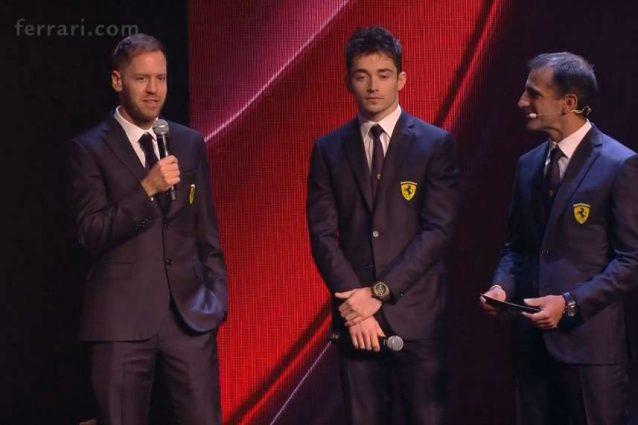 I piloti Sebastian Vettel, 32 anni, e Charles Leclerc, 22, sul palco per la presentazione della SF–1000 / Ferrari.com