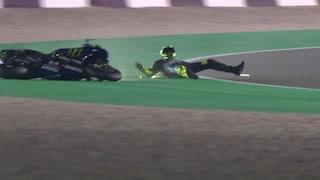 Test Qatar, Vinales chiude al top, caduta per Valentino Rossi