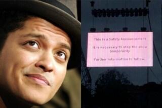 Piccolo incidente al concerto di Bruno Mars: show interrotto per un incendio sul palco