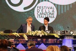 """Andrea Bocelli con il figlio Matteo a Sanremo: """"Bello cantare con papà. Solo al Festival? Chi lo sa"""""""