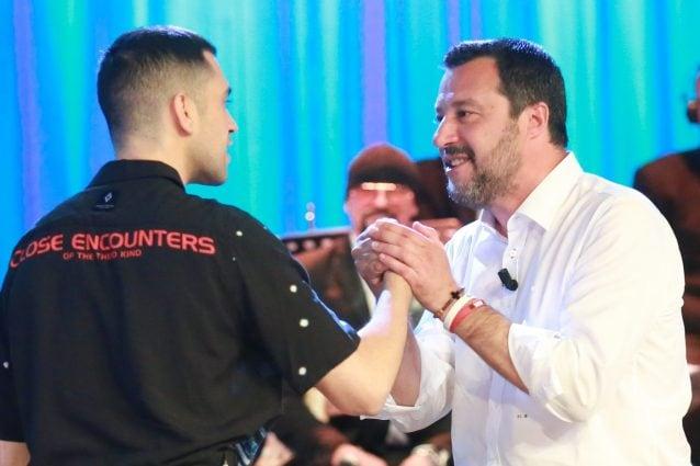 Mahmood e Matteo Salvini al MCS (LaPresse)