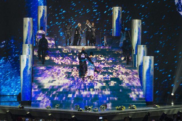 La fine dell'esibizione di madonna all'Eurovision (Getty Images)