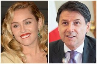 """Giuseppe Conte risponde all'appello di Miley Cyrus: """"Italia in prima linea, insieme ce la faremo"""""""