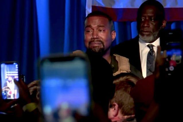 Kanye West durante il suo primo comizio