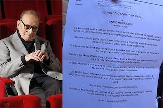 """Ennio Morricone ha scritto il suo necrologio: """"Sono morto, a Maria il mio più doloroso addio"""""""