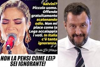 """Elodie attacca Matteo Salvini e la Lega risponde: """"Non la pensi come lei? Sei ignorante"""""""