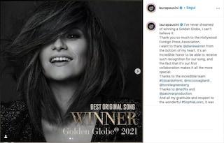 """Laura Pausini vince il Golden Globe 2021 per """"Io sì"""", miglior canzone originale"""