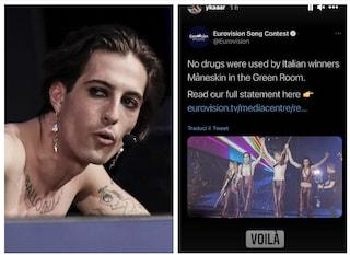 Niente droga per i Maneskin a Eurovision, Damiano commenta facendo il verso ai francesi
