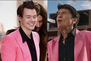 """Gianni Morandi e Harry Styles con lo stesso look, il cantante scherza: """"Lui copia me o viceversa?"""""""