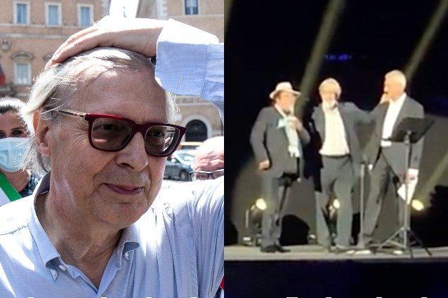 """Vittorio Sgarbi insultato, lascia il palco dell'Arena: """"Non sapevamo fosse un omaggio a Battiato"""""""