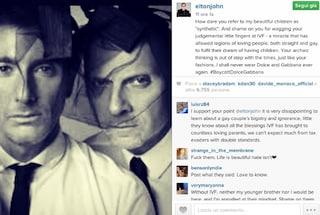 "Elton John contro Dolce e Gabbana per frasi su adozioni gay: ""Vergognatevi"""